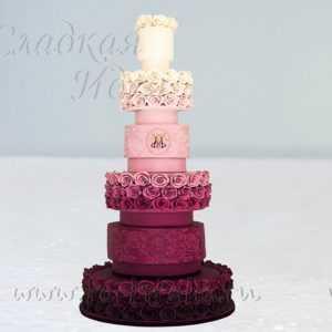 """Свадебный торт """"Розовое омбре"""""""