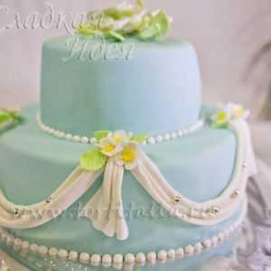Свадебный торт с мастикой 001464