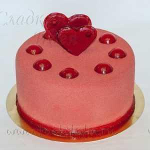 Торт свадебный 2 сердца